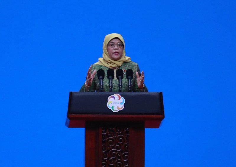 新加坡總統哈莉瑪(Halimah Yacob)。 歐新社