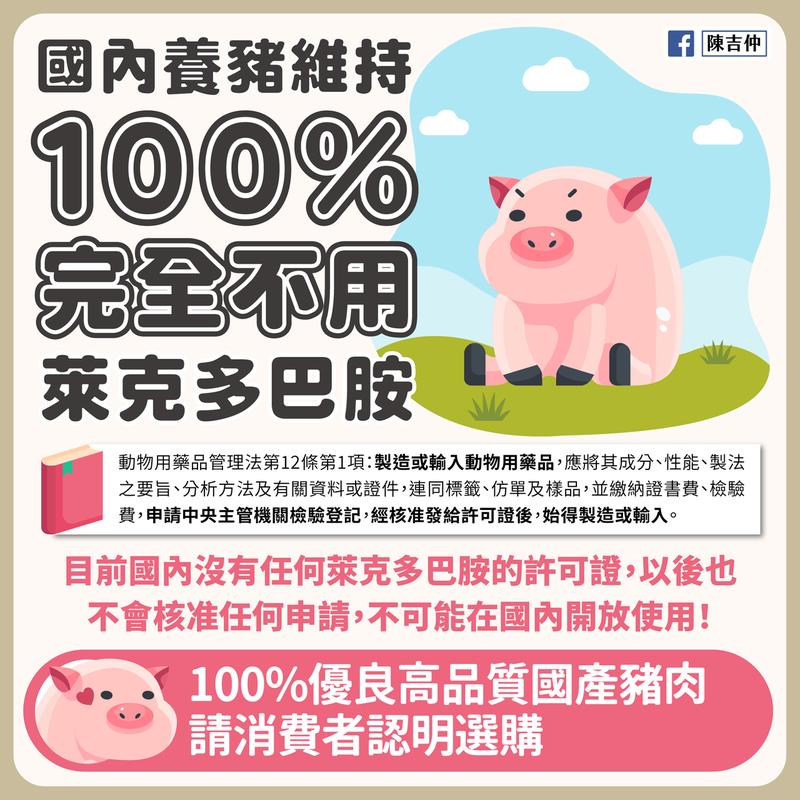 陳吉仲表示,國產豬肉維持完全不用萊克多巴胺,所有通路強制標示產地國。圖/取自陳吉仲臉書