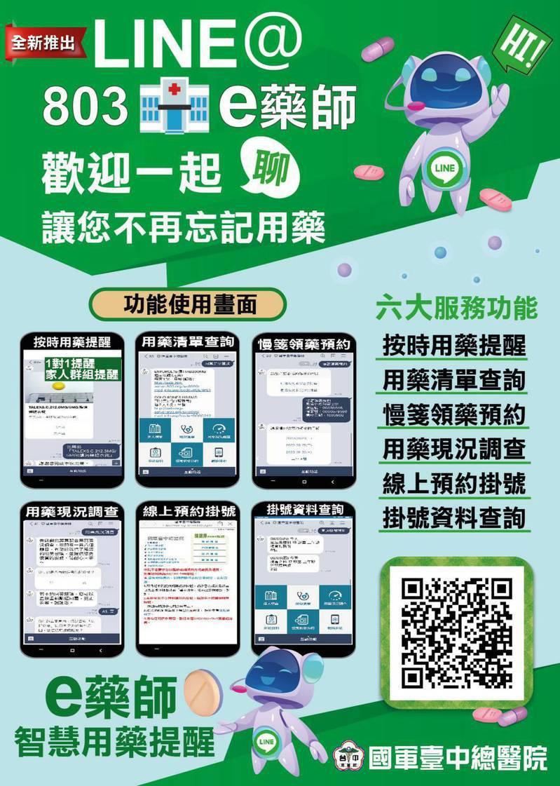 國軍台中總醫院推出LINE官方帳號「e藥師」可以生動活潑對話方式與民眾互動。圖/國軍台中總醫院提供