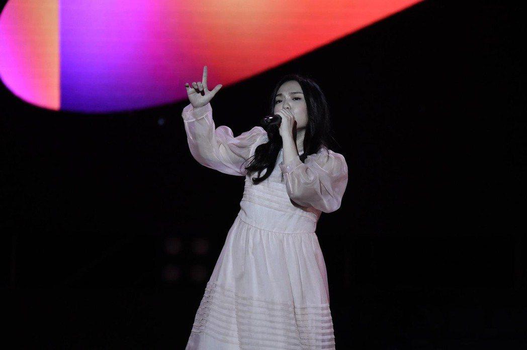 徐佳瑩挺肚獻唱,用歌聲傳遞準人母幸福。圖/攝影胡俊彥提供