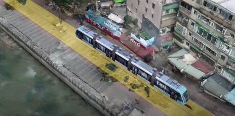 新北淡海輕軌藍海線第二期工程,新北市府決議朝向「河岸路線」方向推動。 圖/新北捷運局提供