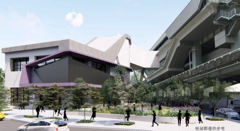 機捷泰山站去年底預計開工新增泰山側出口,該工程經過3次開標後終於標出,此為完工模擬圖。 圖/新北捷運局提供