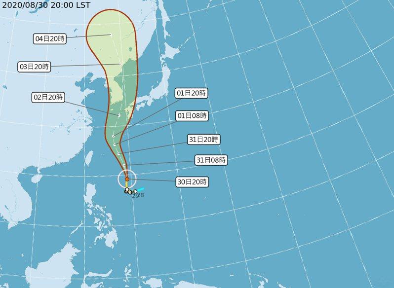 中央氣象局預估,梅莎今晚至明天上半天離台灣最近。 圖/取自中央氣象局網站