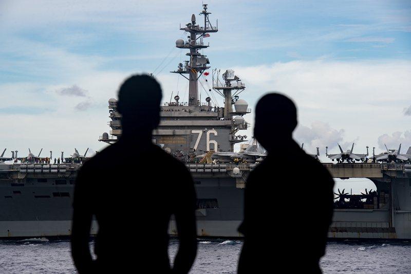美軍派出雷根號(USS Ronald Reagan CVN-76)前往南海,圖攝於7月6日。 圖/歐新社