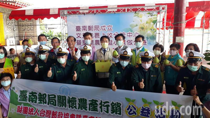 台南郵局協助農民促銷文旦,直接到產地設點就近收寄文旦包裹。記者周宗禎/攝影