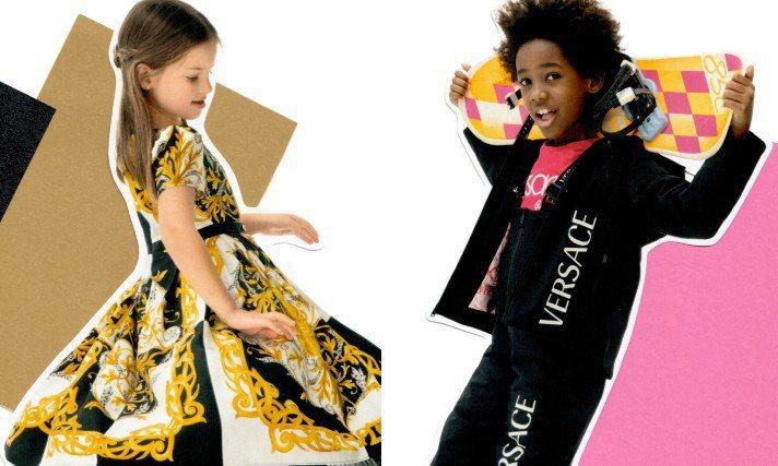 VERSACE全新2020年秋冬童裝系列曝光,形象廣告把穿著秋冬童裝系列邊側手翻...