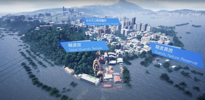 綠色和平研究指出,未來卅年若不積極減碳,到二○五○年台灣將有一三九八平方公里的土地,遭上升的海水淹沒,像是淡水河邊、地勢低窪的關渡地區。圖/綠色和平提供