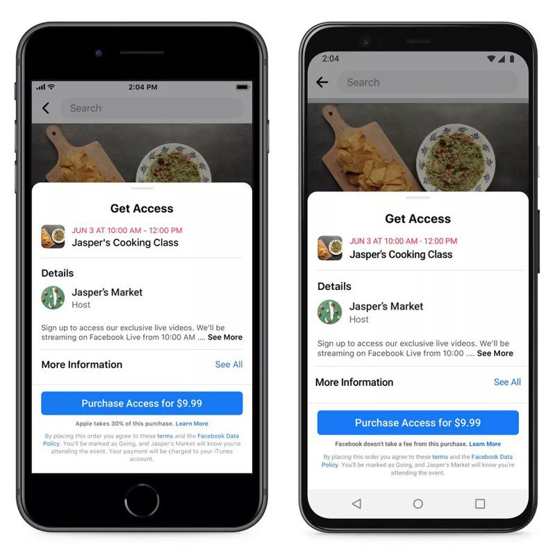 ▲ 左邊 iOS 版本的 Facebook App,會提醒使用者訂購虛擬門票時,將被抽取 30% 蘋果稅,但右邊的 Android 版本卻沒有這行提醒。