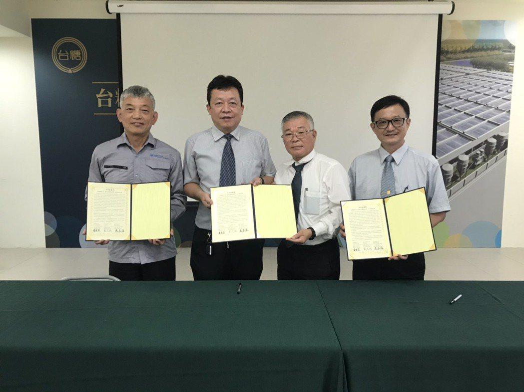 嘉藥與台糖及台科大共同簽訂合作協議。 嘉藥/提供