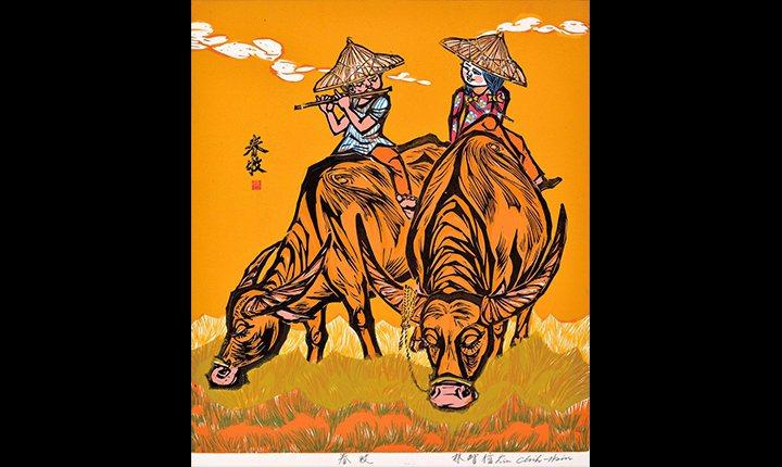 1980入選希德第6屆國際版畫展的1979春牧-油印木刻版畫。中正紀念堂管理處/...
