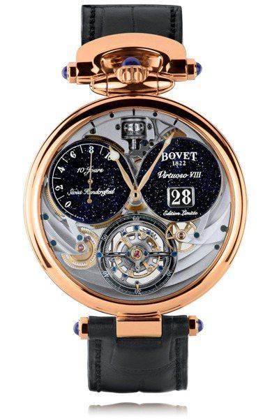 BOVET,Virtuoso VIII大日期窗十日鍊陀飛輪腕表,玫瑰金,時間顯示...