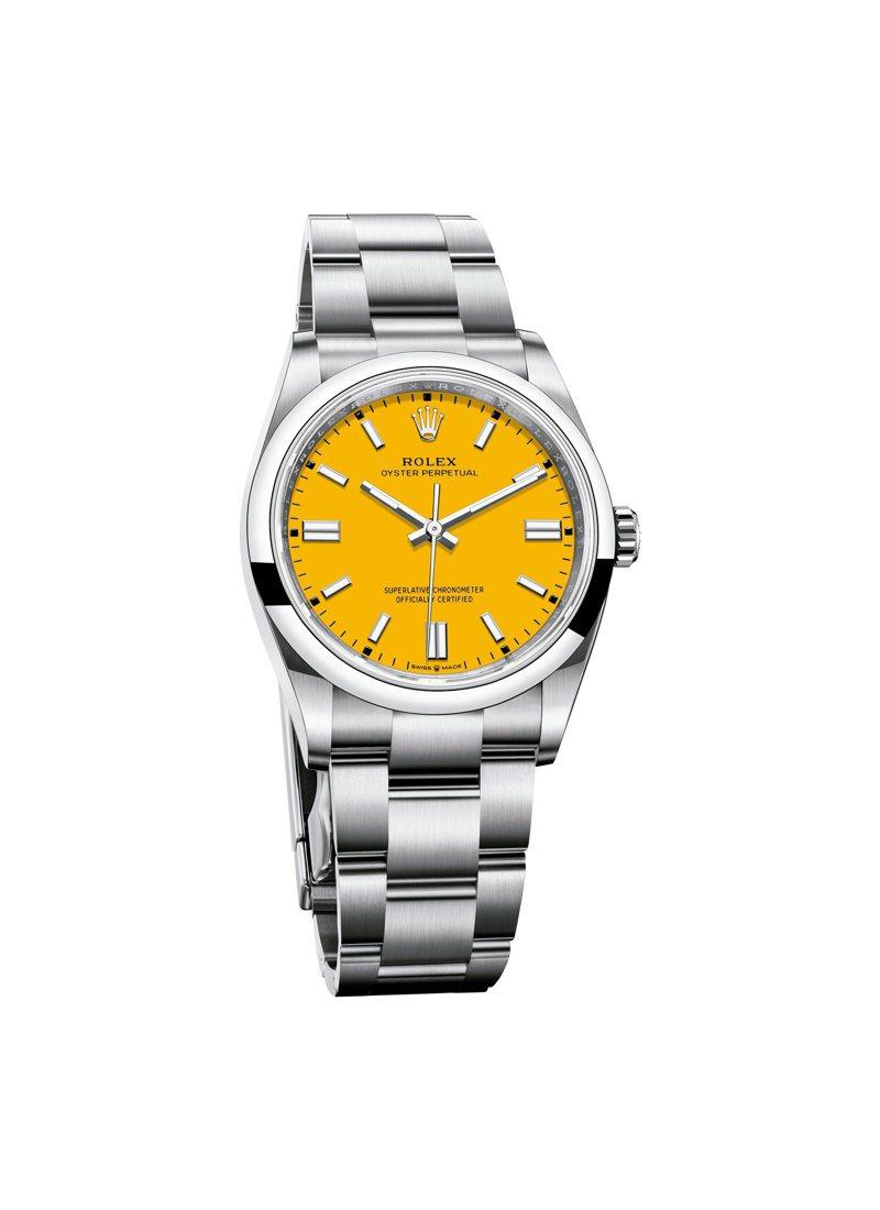 你沒有看錯,如斯大膽的黃色表面,確實是2020年新款的ROLEX Oyster Perpetual 36腕表。圖 / ROLEX提供。