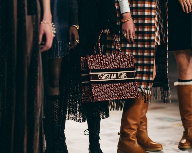 Book Oblique棕色絲絨刺繡帆布托特包,10萬5,000元。圖/DIOR...
