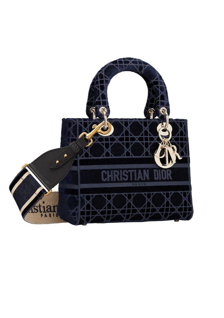 Lady D-Lite藍色絲絨籐格紋刺繡中型提包(背帶另購),15萬5,000元...