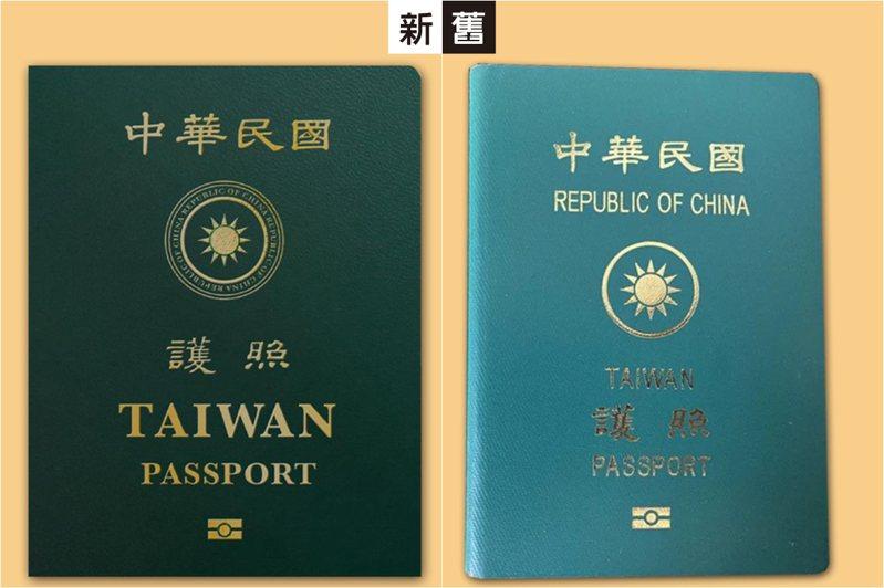 行政院今公佈我國最新護照樣式(左圖),印有英文字的「TAIWAN」被放大,原先的「Republic of China」縮小改繞於國徽外圈。右圖為舊版護照。 圖/行政院臉書、聯合報系資料照片