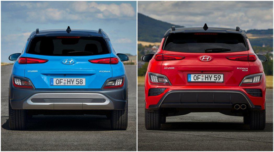 圖左為小改款Hyundai Kona車尾,圖右為全新Hyundai Kona N...