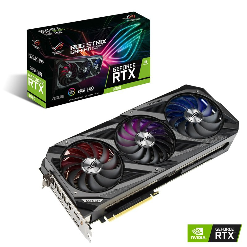 華碩於Meta Buffs線上發表會推出全新系列電競裝備,圖為ROG Strix GeForce RTX 3090顯示卡。圖/華碩提供