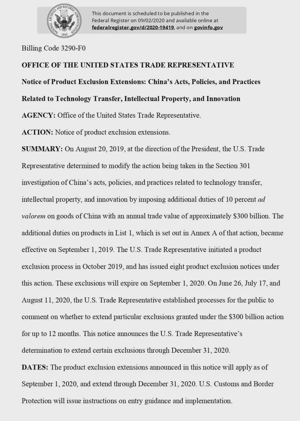 美將部分大陸商品關稅豁免期限延長至今年底。圖/美國貿易代表署