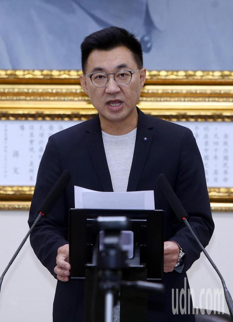 國民黨下午舉行中常會,會前主席江啟臣致詞批評開放美豬美牛政策影響食安。記者曾吉松/攝影