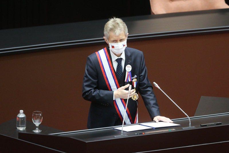 捷克參議院議長韋德齊率團訪台。本報資料照片