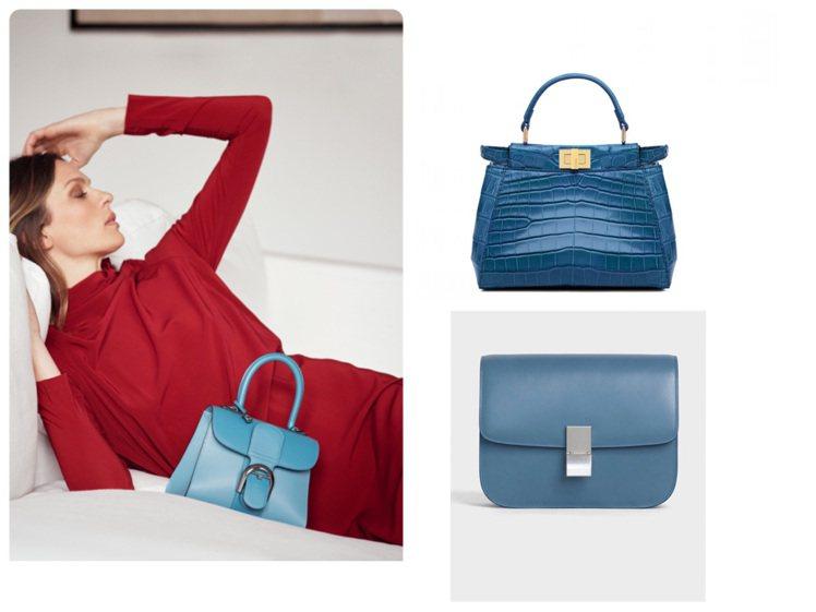 今年秋冬季的矢車菊藍、天青藍、丹寧藍等悅目藍色系包款。圖/各品牌提供