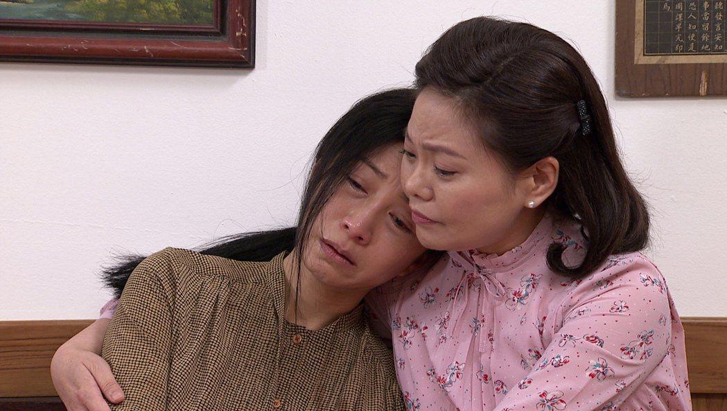 方文琳(左)在「生生世世」中為兒擔心,好友林嘉俐來安慰。圖/台視提供