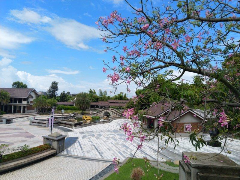 位於清水區的港區藝術中心占地廣闊,戶外廣場中的小橋、流水,搭配周遭傳統中國閩南建...