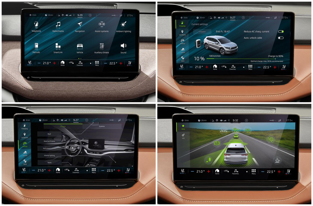 ŠKODA Enyaq iV高階車型中標配13吋中控螢幕,為品牌目前車款中所含的...