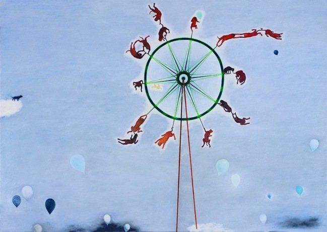 蘇旺伸畫作「啊 摩天輪」。 圖/北美館提供