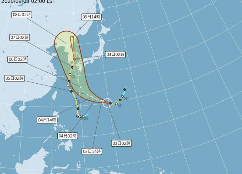 今年第10號颱風海神已經是中颱等級。圖/取自中央氣象局
