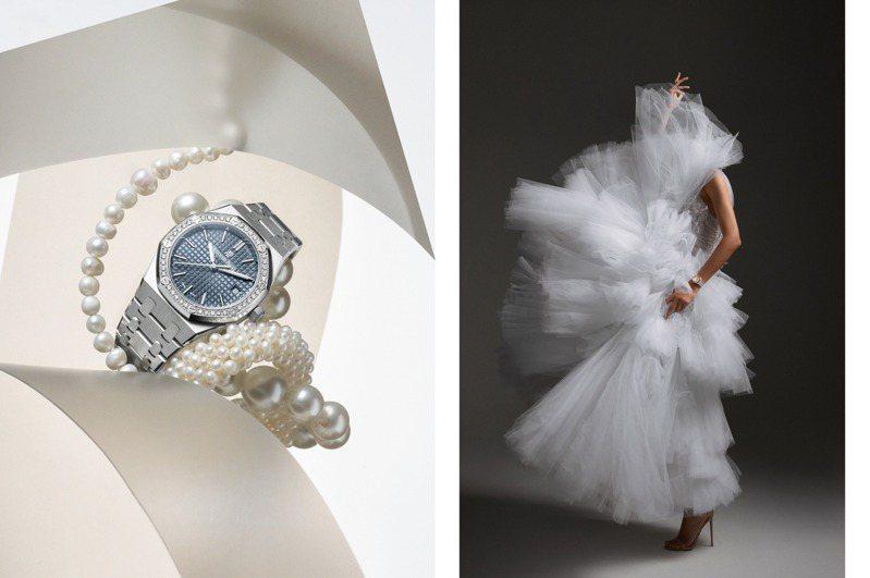 愛彼與英國時裝品牌Ralph & Russo建立合作關係,將腕表美型「戴」上伸展台。圖 / Audemars Piguet提供。