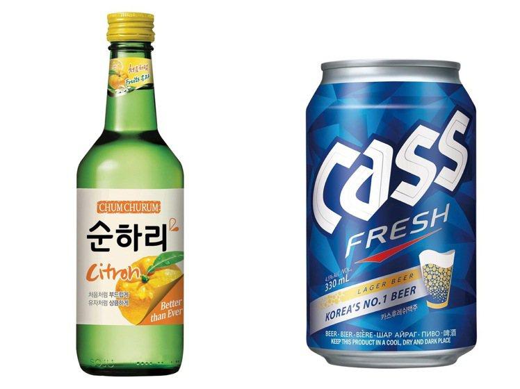 韓式調酒正夯,燒酒加啤酒,將清涼的碳酸感與酒精刺鼻感完美結合。圖/家樂福提供 ※...