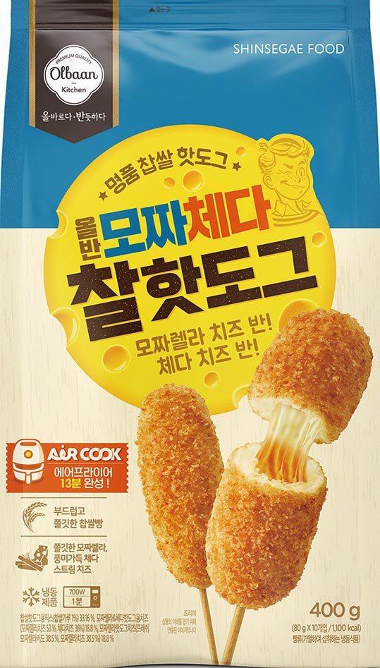 Olbaan韓國雙層起司仿米熱狗,莫札瑞起司與切達起司兩種起司混搭,外酥內香的組...