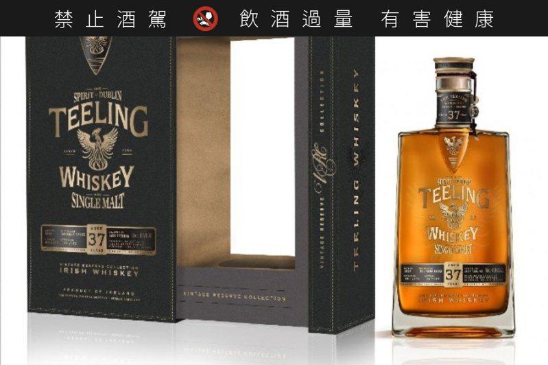 「天頂37年愛爾蘭單一麥芽威士忌」預計年底導入台灣,目前國內售價未定。圖/天頂提供。提醒您:禁止酒駕 飲酒過量有礙健康。