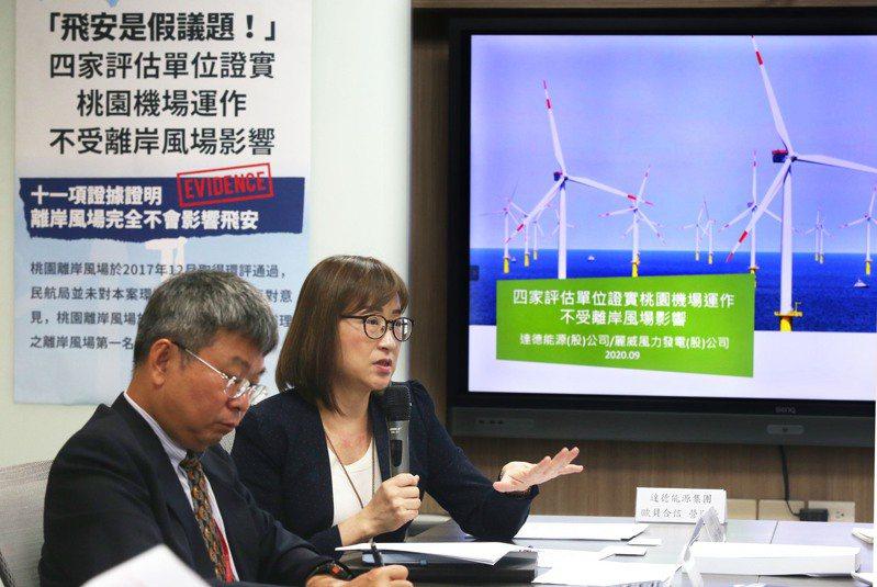 達德能源董事長王雲怡(右)、技術總監林世豪(左)召開「飛安是假議題」記者會,提出4家評估單位證實桃園機場運作不受離岸風場影響,指出11項證據證明離岸風場完全不影響飛安。記者林俊良/攝影