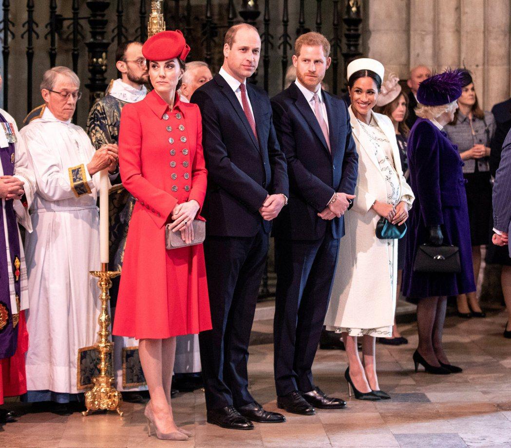凱特(左二起)、威廉、哈利、梅根常被媒體炒作「有複雜的恩怨」。圖/路透資料照片