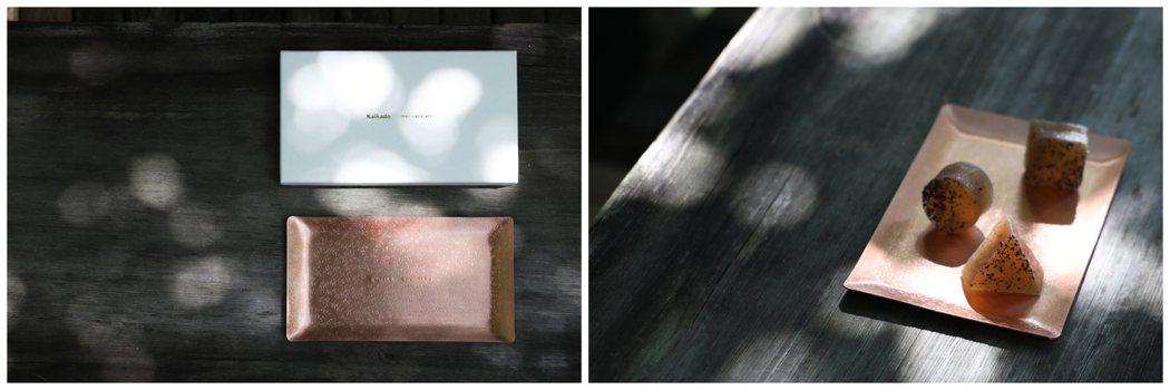 開化堂紅銅方盤與沼澤幾何琥珀糖。 圖/森/CASA提供