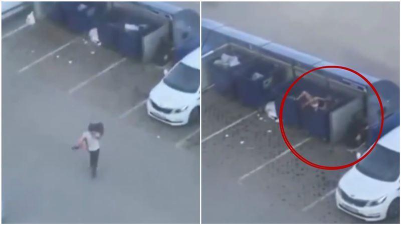 俄羅斯有一對情侶,在停車場吵架吵到一半,男方竟然衝向女方並突然將她抱起,往旁邊的垃圾桶丟。 圖截自《看看新聞》