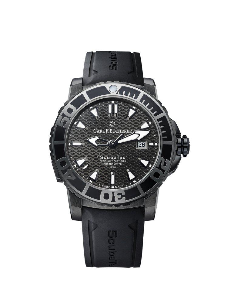 Patravi ScubaTec Black腕錶的44毫米鈦合金表殼上手輕盈,機...
