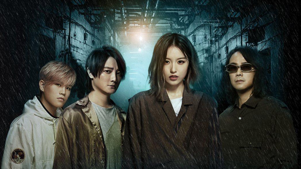 Spark皇毅(左起)、阿沁、Lydia和陳建寧隔空為電影「海霧」獻唱主題曲。圖...