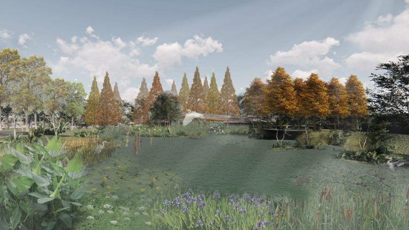 雙溪河口濕地公園生態池模擬圖。圖/臺北市政府工務局大地工程處