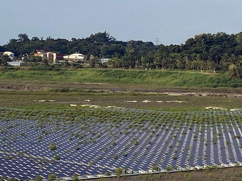 阿公店水庫建置台灣首座漂浮太陽能發電站,日前有民眾發現太陽能板間竟然長草,空中鳥瞰像極了停車場植草磚,直呼奇景。圖/讀者提供