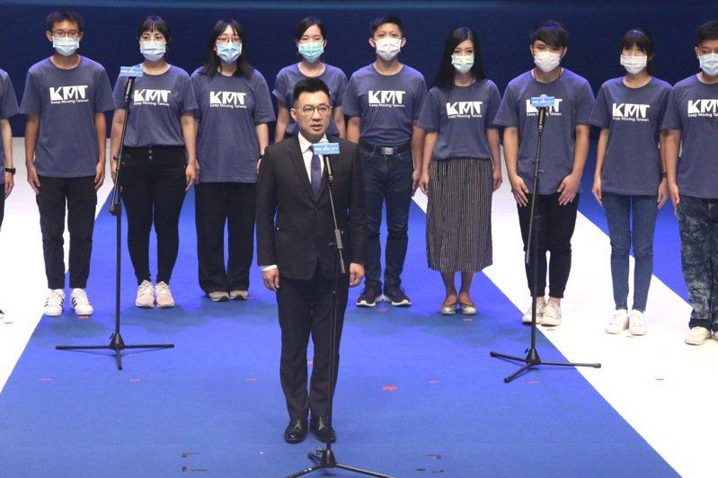 國民黨今天在國父紀念館舉行第二十屆第四次全代會,黨主席江啟臣(中)在開幕時,率同全體黨代表一同唱國歌。記者黃義書/攝影