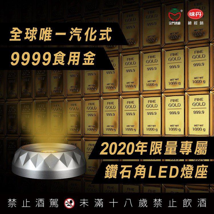 酒體升級融合全國唯一9999食用級純金箔。圖/金門酒廠提供。提醒您:禁止酒駕 飲...