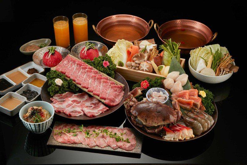 黑毛屋本家以「愛爾蘭玫瑰膏蟹」,搭配日本和牛、時令海鮮,推出「中秋海陸四人套餐」,每份6,888元。圖/乾杯提供