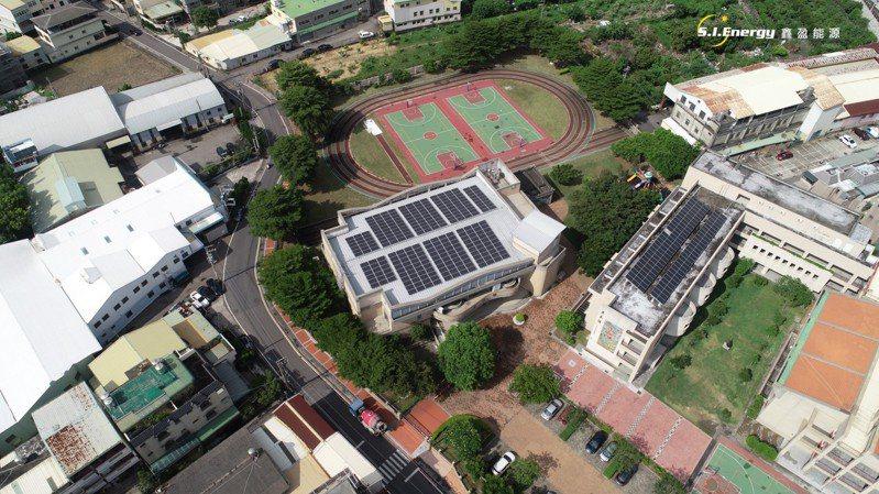 學校設置太陽能光板,除參與節號能減碳,還可收租金用作校務運轉。圖/台中市經發局提供