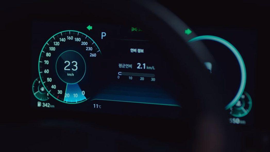 小改款Hyundai Grandeur採用全新的12.3吋數位儀表。 圖/截自N...