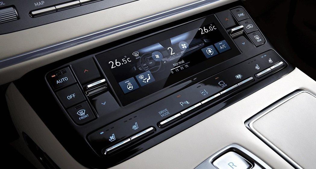小改款Hyundai Grandeur車內配置全新冷暖空調控制面板。 摘自Hyu...