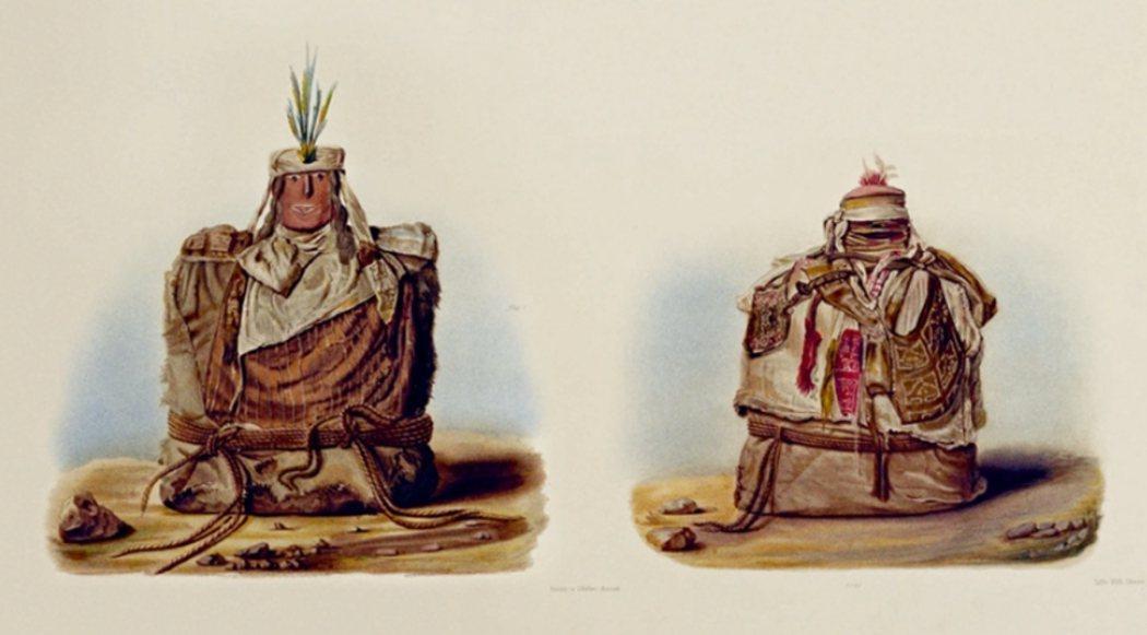 秘魯人的祖先木乃伊,木乃伊身上附有祖先的「畫像」,如 1880 年代的插圖所示。...