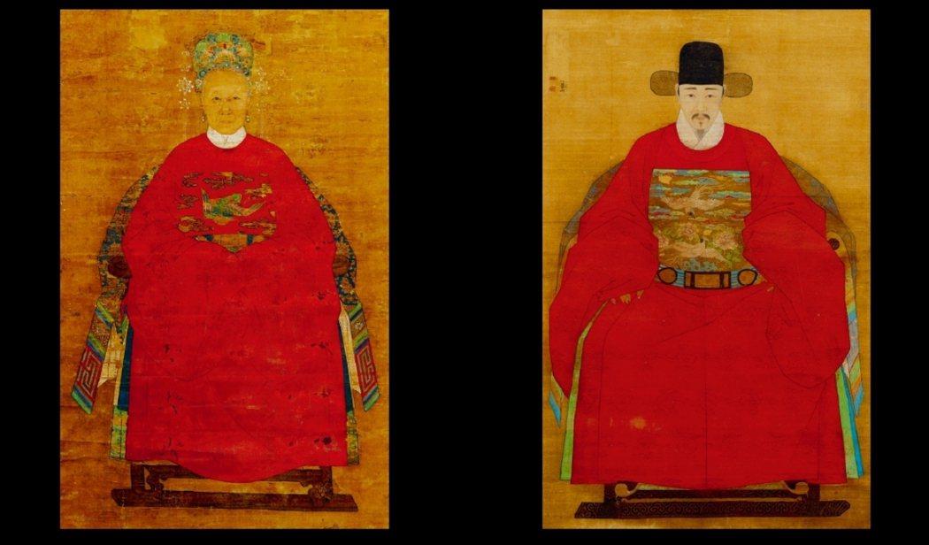 今日大英博物館藏有兩張為了這個目的而繪製的人物畫。這兩張明朝的 「祖先圖像」是畫...